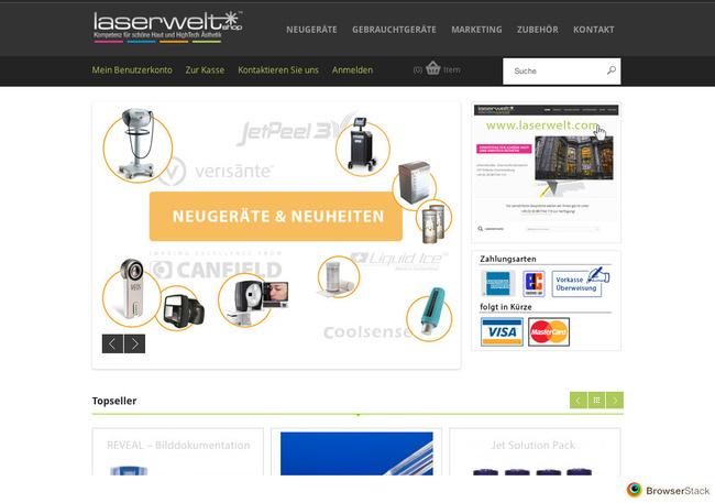Screenshot Laserwelt Online Shop