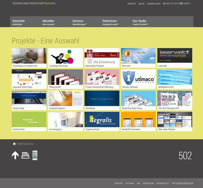 """Screenshot der Seite """"Projekte"""""""